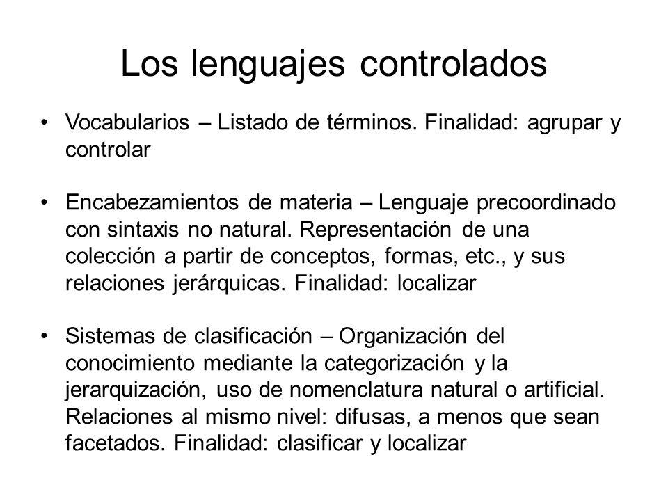 Los lenguajes controlados Vocabularios – Listado de términos. Finalidad: agrupar y controlar Encabezamientos de materia – Lenguaje precoordinado con s