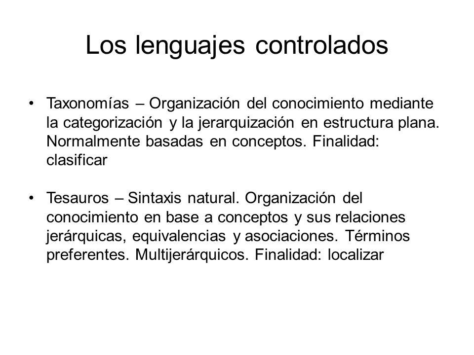 Los lenguajes controlados Taxonomías – Organización del conocimiento mediante la categorización y la jerarquización en estructura plana. Normalmente b