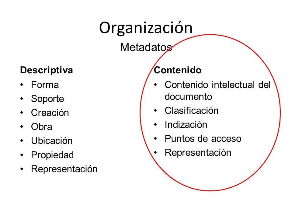 Organización Descriptiva Forma Soporte Creación Obra Ubicación Propiedad Representación Contenido Contenido intelectual del documento Clasificación In