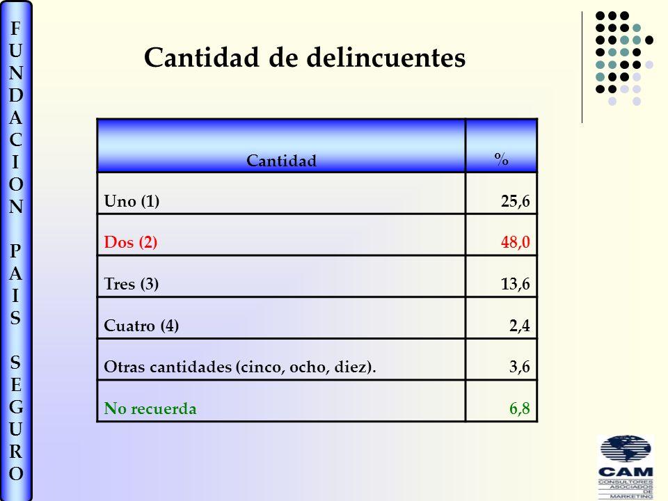 FUNDACIONPAISSEGUROFUNDACIONPAISSEGURO Cantidad de delincuentes Cantidad% Uno (1)25,6 Dos (2)48,0 Tres (3)13,6 Cuatro (4)2,4 Otras cantidades (cinco, ocho, diez).3,6 No recuerda6,8