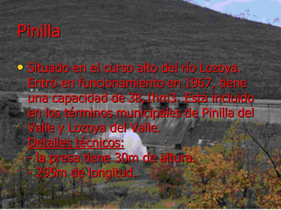 Pinilla Situado en el curso alto del río Lozoya. Entró en funcionamiento en 1967, tiene una capacidad de 38,1hm3. Está incluido en los términos munici