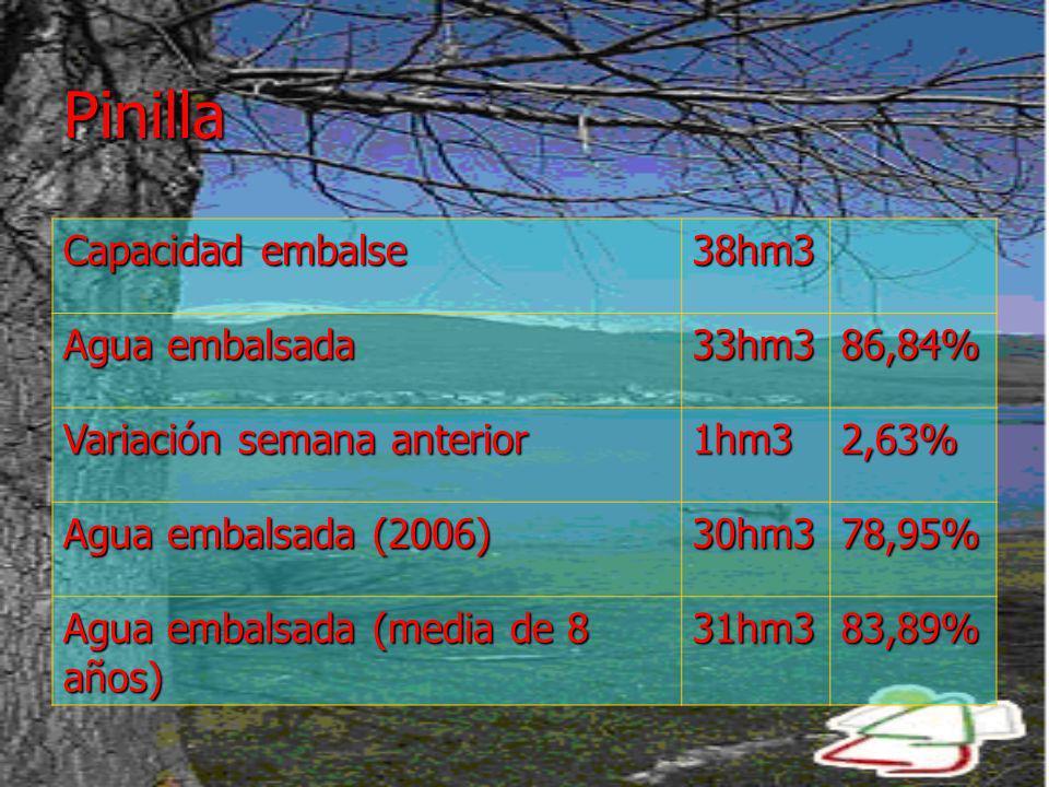 Pinilla Capacidad embalse 38hm3 Agua embalsada 33hm386,84% Variación semana anterior 1hm32,63% Agua embalsada (2006) 30hm378,95% Agua embalsada (media de 8 años) 31hm383,89%