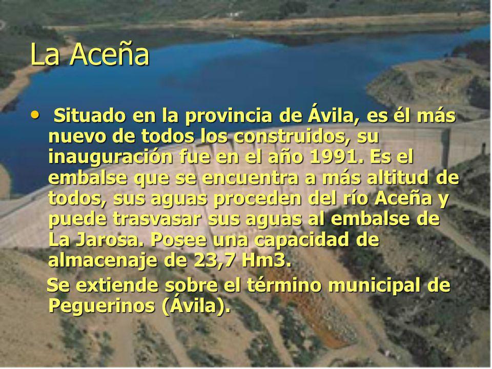 La Aceña Situado en la provincia de Ávila, es él más nuevo de todos los construidos, su inauguración fue en el año 1991. Es el embalse que se encuentr