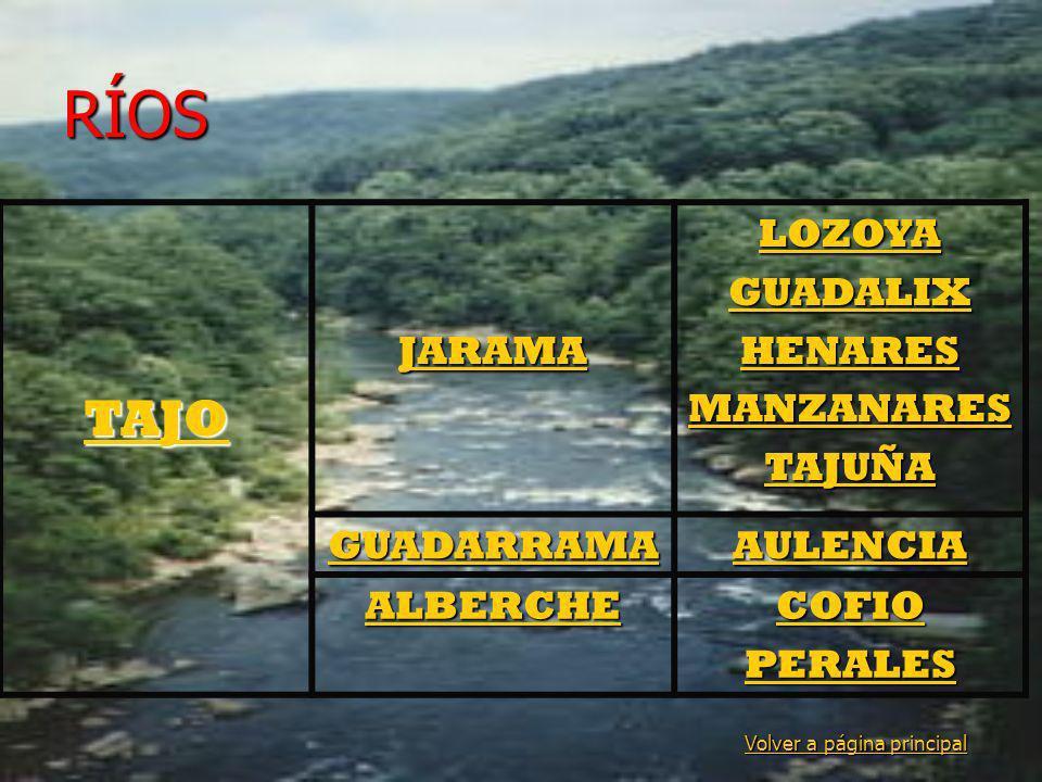 RÍOS Volver a página principal Volver a página principal TAJO JARAMA LOZOYA GUADALIX HENARES MANZANARES TAJUÑA GUADARRAMA AULENCIA ALBERCHE COFIO PERA