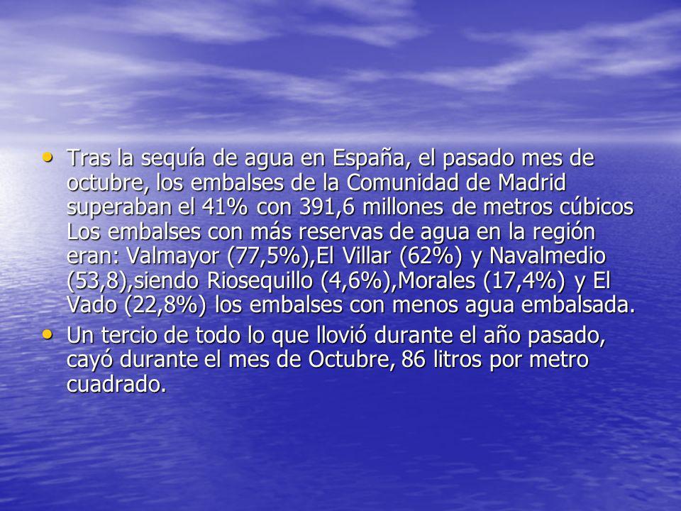 Tras la sequía de agua en España, el pasado mes de octubre, los embalses de la Comunidad de Madrid superaban el 41% con 391,6 millones de metros cúbic