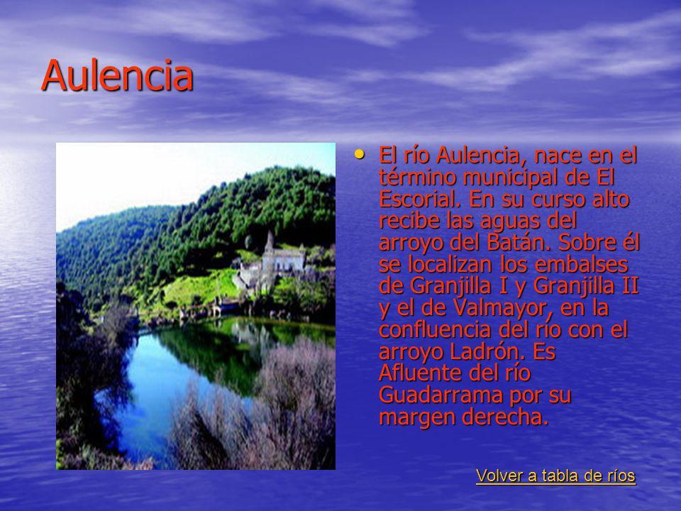 Aulencia El río Aulencia, nace en el término municipal de El Escorial. En su curso alto recibe las aguas del arroyo del Batán. Sobre él se localizan l