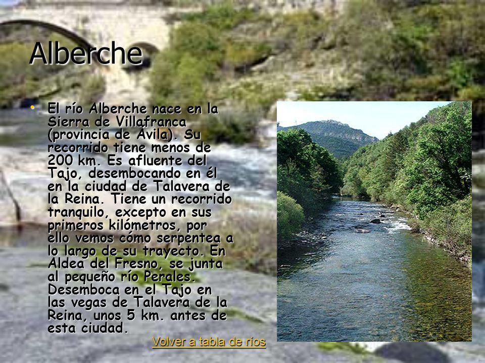 Alberche El río Alberche nace en la Sierra de Villafranca (provincia de Ávila). Su recorrido tiene menos de 200 km. Es afluente del Tajo, desembocando