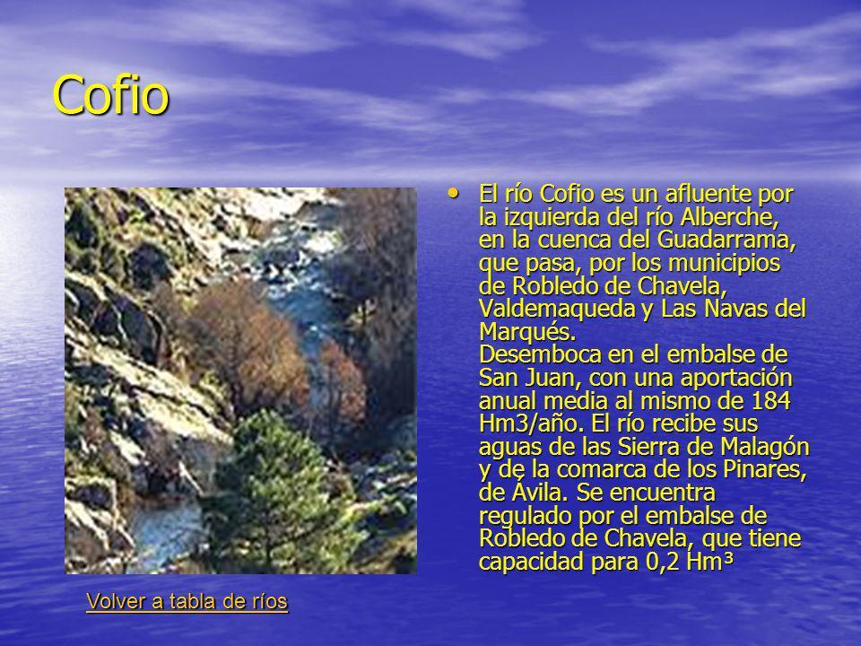 Cofio El río Cofio es un afluente por la izquierda del río Alberche, en la cuenca del Guadarrama, que pasa, por los municipios de Robledo de Chavela, Valdemaqueda y Las Navas del Marqués.