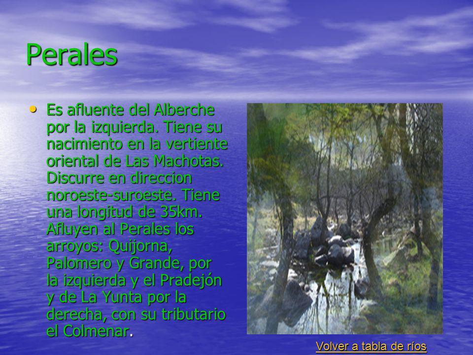 Perales Es afluente del Alberche por la izquierda. Tiene su nacimiento en la vertiente oriental de Las Machotas. Discurre en direccion noroeste-suroes