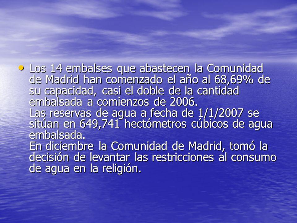 Los 14 embalses que abastecen la Comunidad de Madrid han comenzado el año al 68,69% de su capacidad, casi el doble de la cantidad embalsada a comienzo