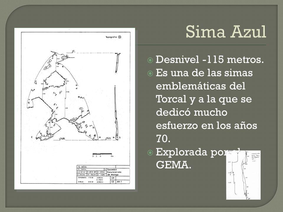 Sima Azul Desnivel -115 metros. Es una de las simas emblemáticas del Torcal y a la que se dedicó mucho esfuerzo en los años 70. Explorada por el GEMA.