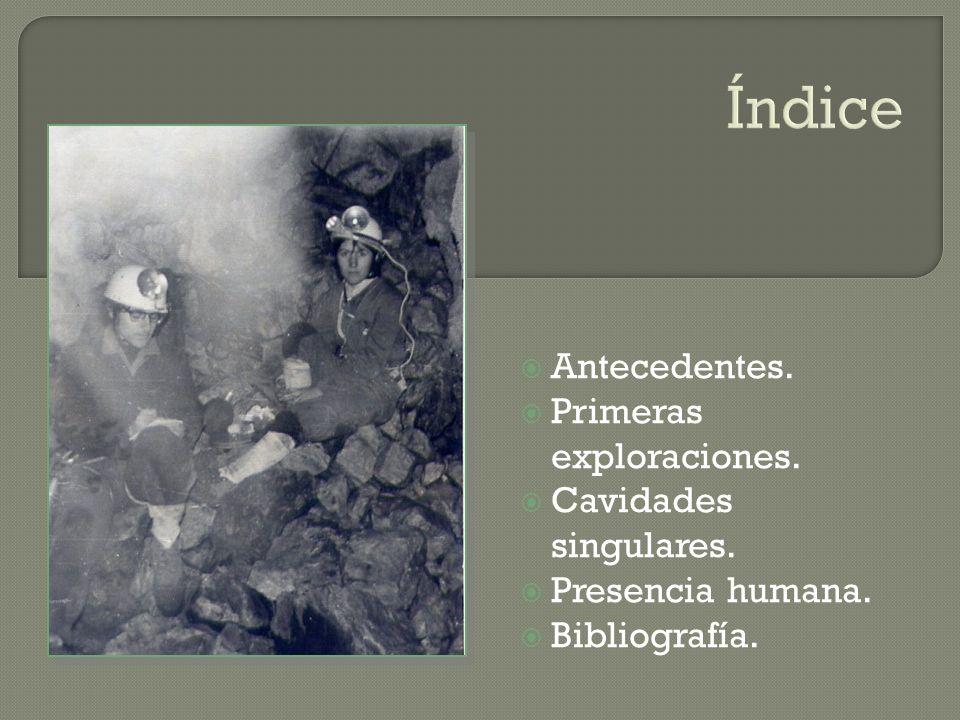Índice Antecedentes. Primeras exploraciones. Cavidades singulares. Presencia humana. Bibliografía.