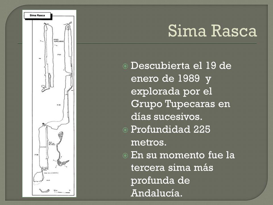 Sima Rasca Descubierta el 19 de enero de 1989 y explorada por el Grupo Tupecaras en días sucesivos. Profundidad 225 metros. En su momento fue la terce