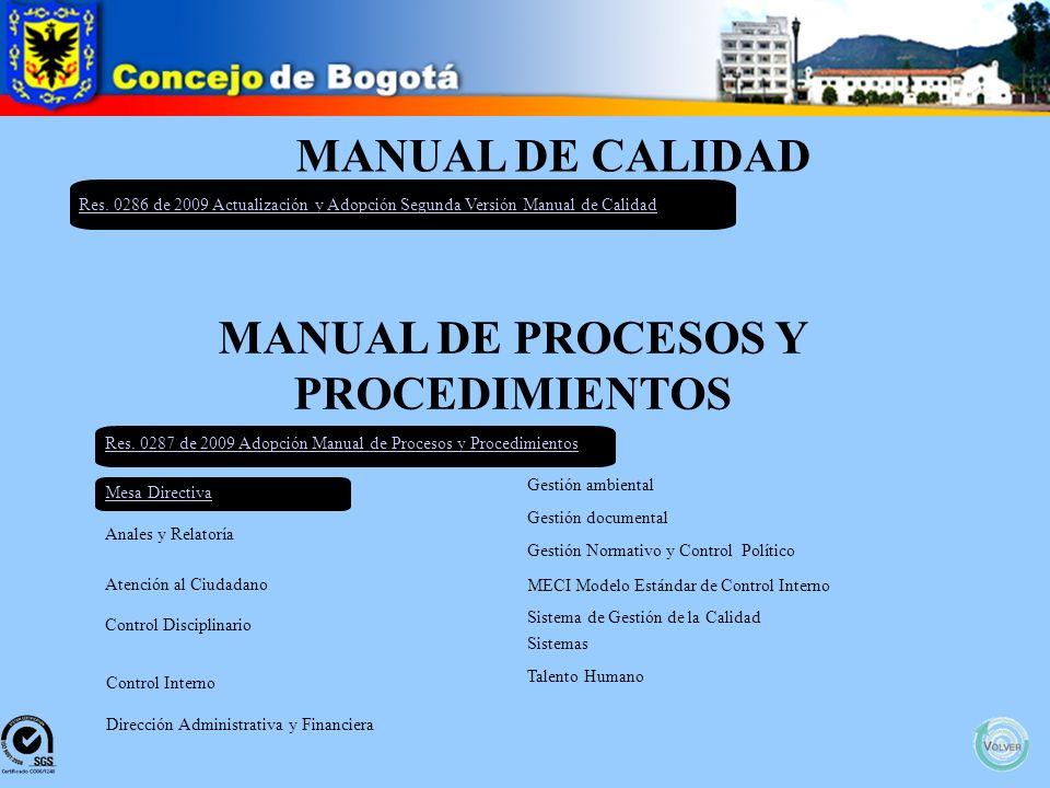 POLITICAS DE OPERACIÓN Res. 564 de 2009 Por la cual se Adopta el Manual de Operaciones Manual Políticas de Operación Normograma
