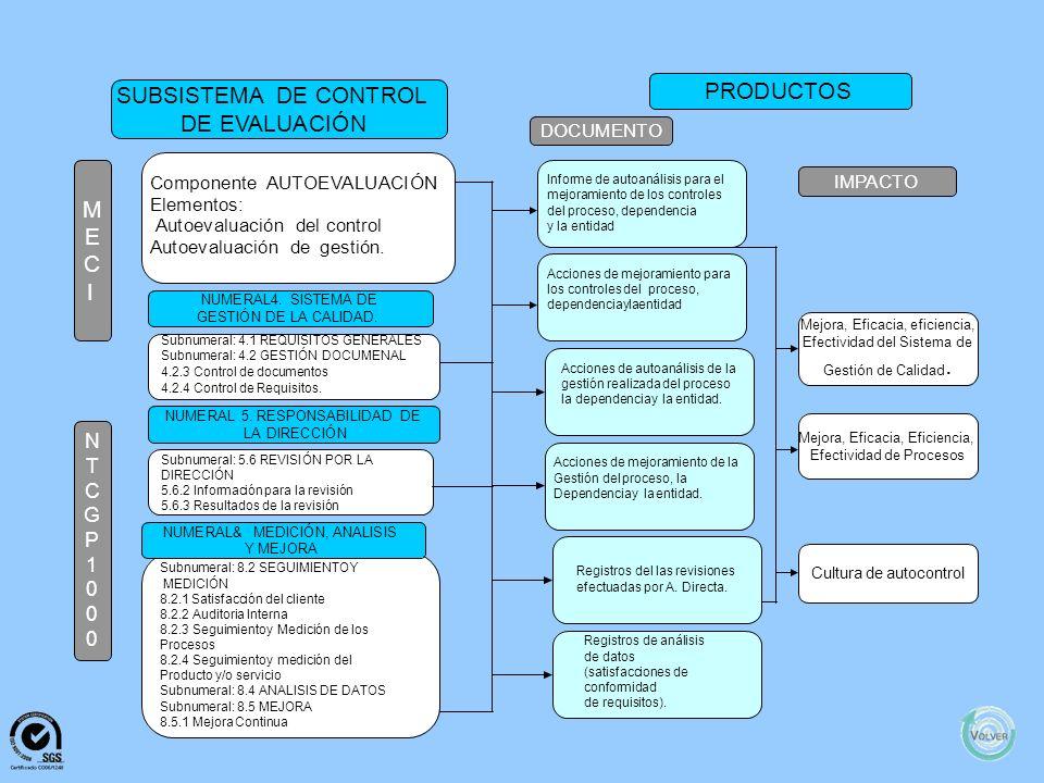 M E C I N T C G P 1 0 0 0 SUBSISTEMADECONTROL DEGESTIÓN Satisfaccióndelcliente PRODUCTOS DOCUMENTOIMPACTO ComponenteCOMUNICACIÓN PÚBLICA Elementos: Co