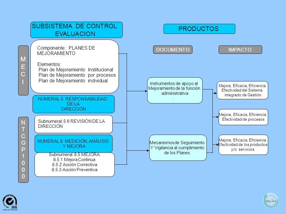 M E C I N T C G P 1 0 0 0 SUBSISTEMADECONTROL EVALUACION PRODUCTOS DOCUMENTOIMPACTO Componente:EVALUACIÓN INDEPENDIENTE Elementos: EvaluaciónIndependi