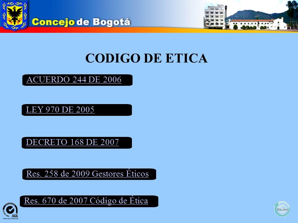 CODIGO DE ETICA ACUERDO 244 DE 2006 LEY 970 DE 2005 DECRETO 168 DE 2007 Res.