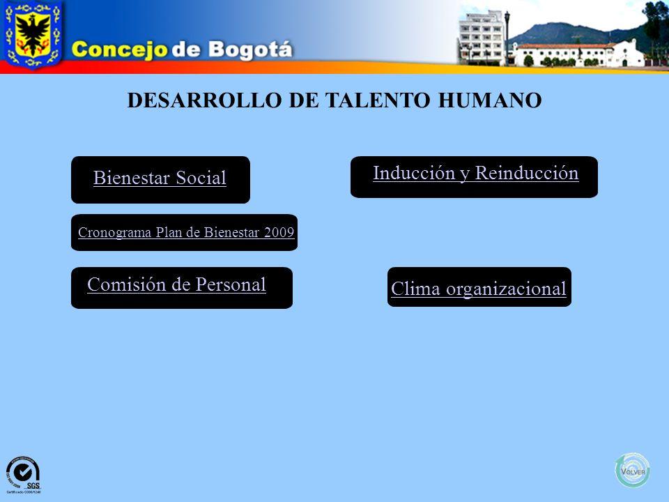 DESARROLLO DE TALENTO HUMANO Bienestar Social Clima organizacional Comisión de Personal Inducción y Reinducción Cronograma Plan de Bienestar 2009