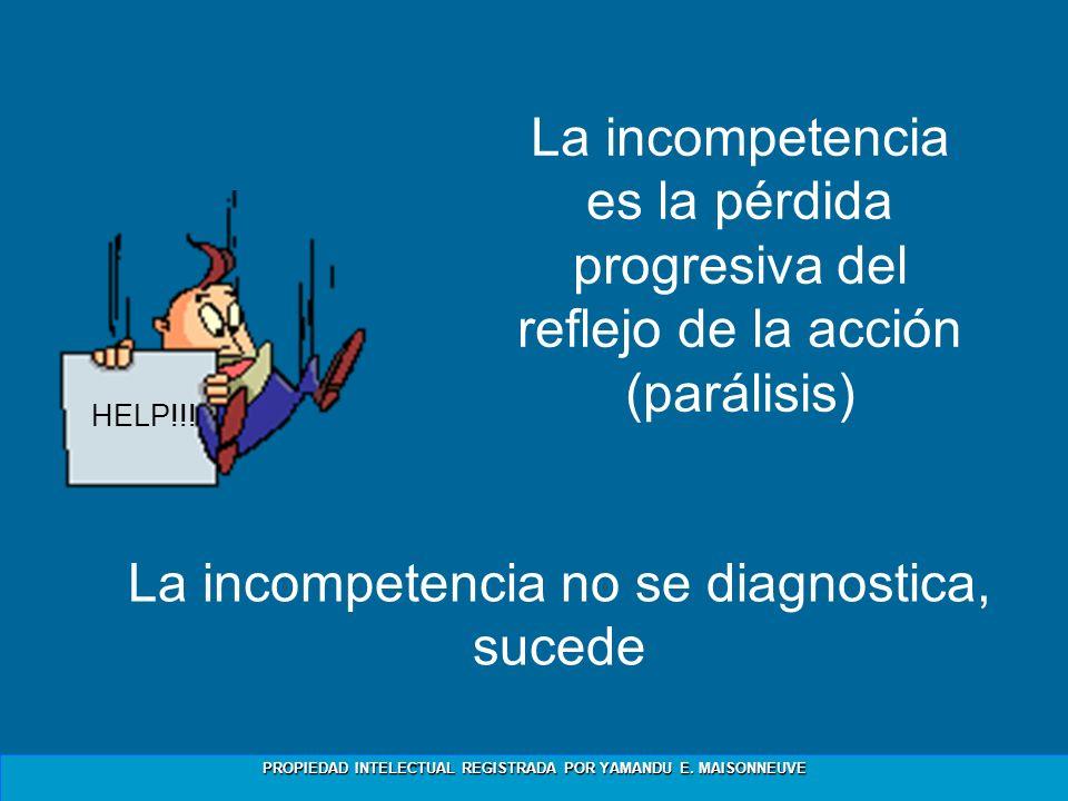 PROPIEDAD INTELECTUAL REGISTRADA POR YAMANDU E. MAISONNEUVE La incompetencia es la pérdida progresiva del reflejo de la acción (parálisis) La incompet