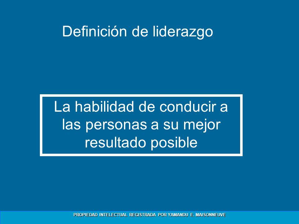 PROPIEDAD INTELECTUAL REGISTRADA POR YAMANDU E. MAISONNEUVE Definición de liderazgo La habilidad de conducir a las personas a su mejor resultado posib