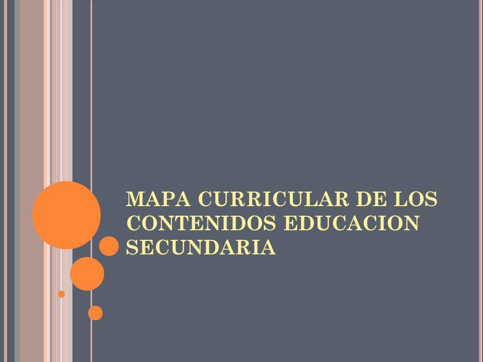 MAPA CURRICULAR DE LOS CONTENIDOS EDUCACION SECUNDARIA