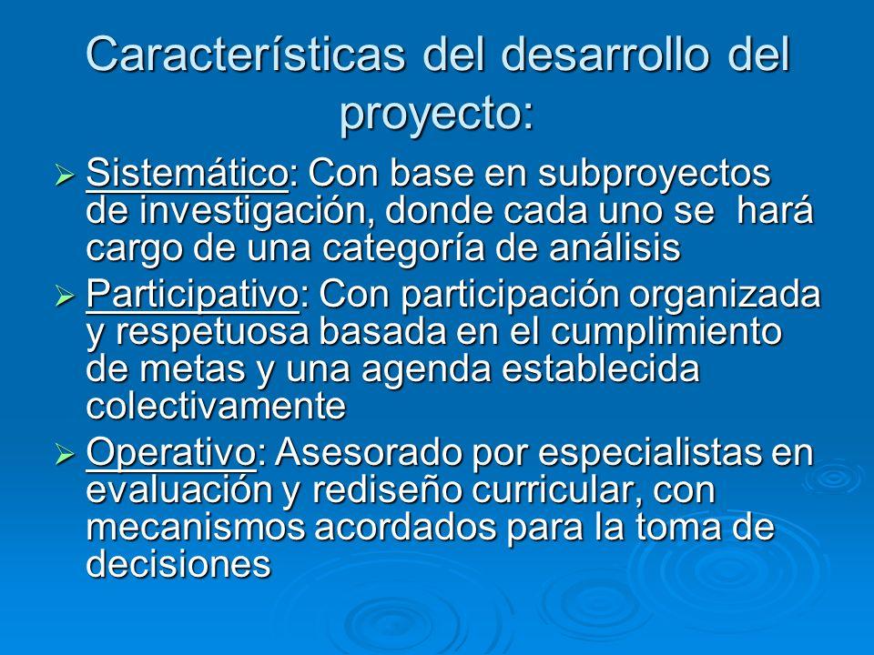 Características del desarrollo del proyecto: Sistemático: Con base en subproyectos de investigación, donde cada uno se hará cargo de una categoría de
