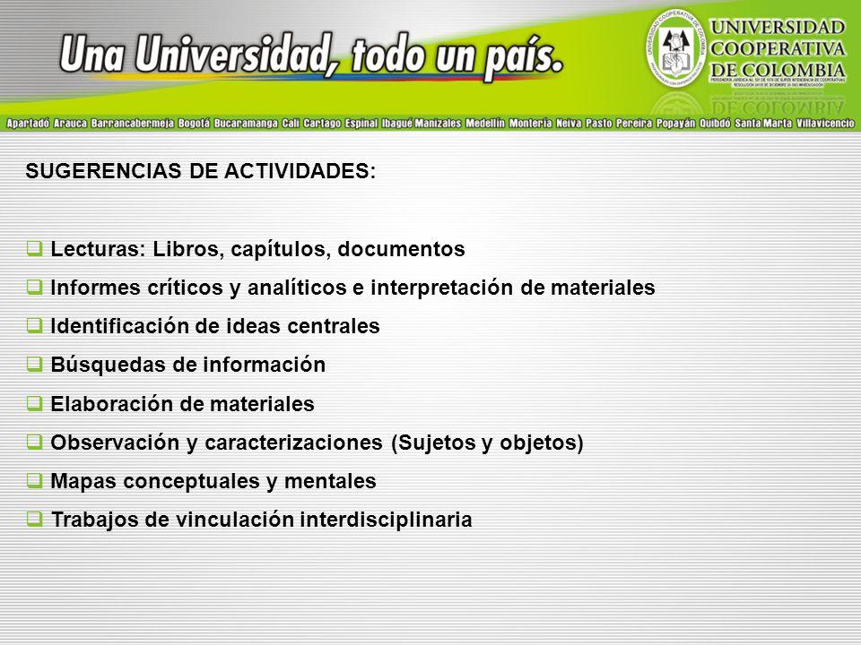 SUGERENCIAS DE ACTIVIDADES: Lecturas: Libros, capítulos, documentos Informes críticos y analíticos e interpretación de materiales Identificación de id