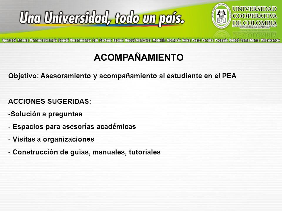 ACOMPAÑAMIENTO Objetivo: Asesoramiento y acompañamiento al estudiante en el PEA ACCIONES SUGERIDAS: -Solución a preguntas - Espacios para asesorías ac