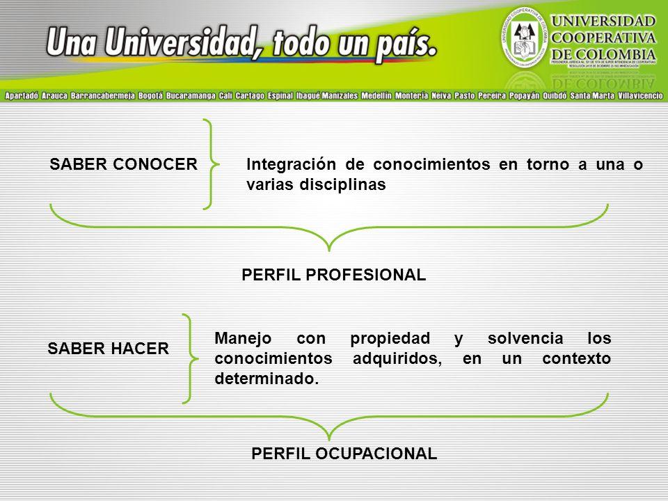 SABER CONOCERIntegración de conocimientos en torno a una o varias disciplinas SABER HACER Manejo con propiedad y solvencia los conocimientos adquirido