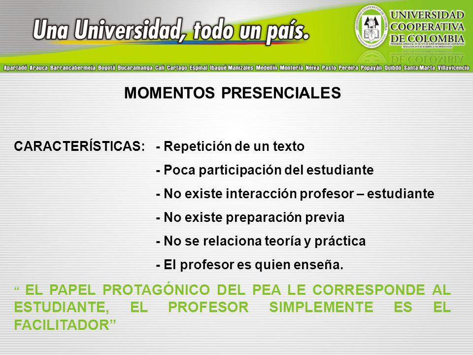 MOMENTOS PRESENCIALES CARACTERÍSTICAS:- Repetición de un texto - Poca participación del estudiante - No existe interacción profesor – estudiante - No