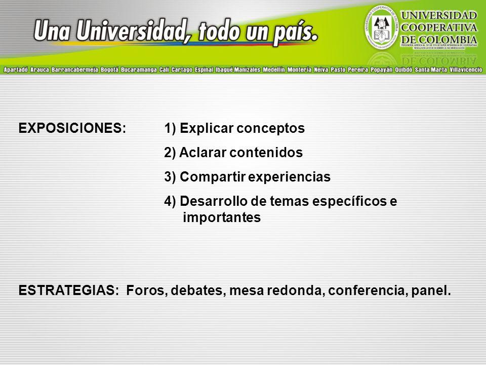 EXPOSICIONES: 1) Explicar conceptos 2) Aclarar contenidos 3) Compartir experiencias 4) Desarrollo de temas específicos e importantes ESTRATEGIAS: Foro