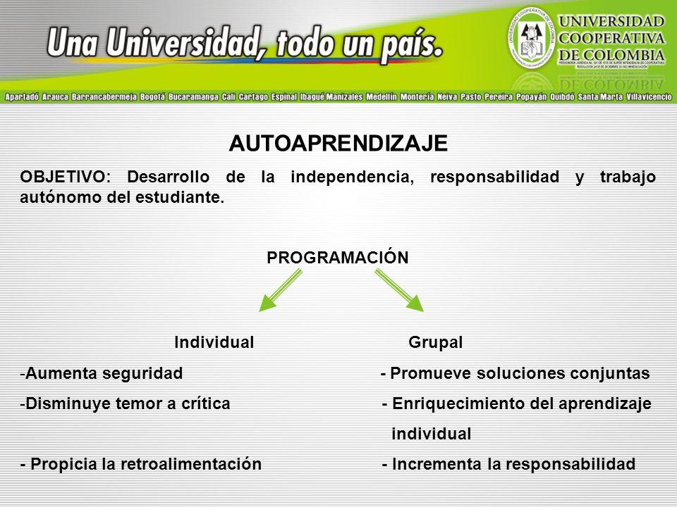 AUTOAPRENDIZAJE OBJETIVO: Desarrollo de la independencia, responsabilidad y trabajo autónomo del estudiante. PROGRAMACIÓN Individual Grupal -Aumenta s