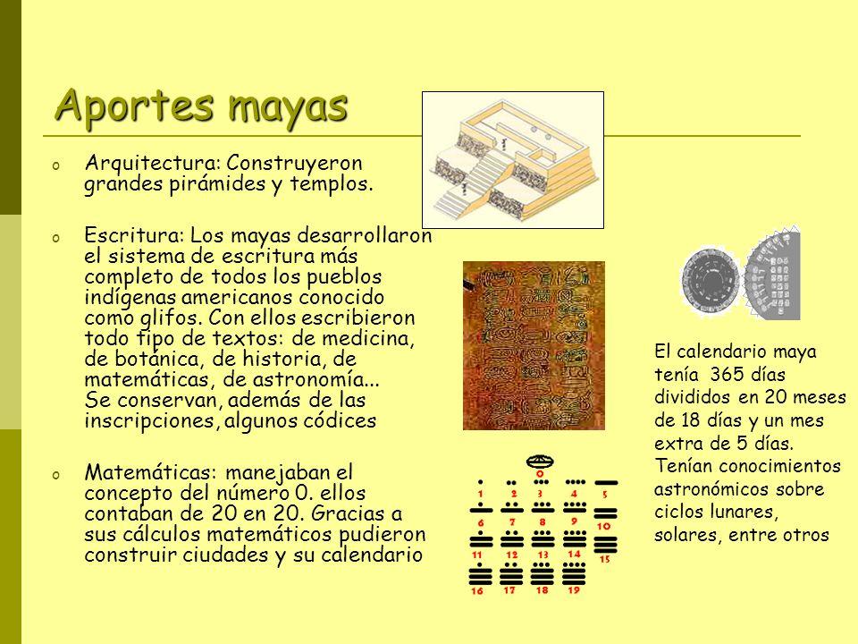 Aportes mayas o Arquitectura: Construyeron grandes pirámides y templos.