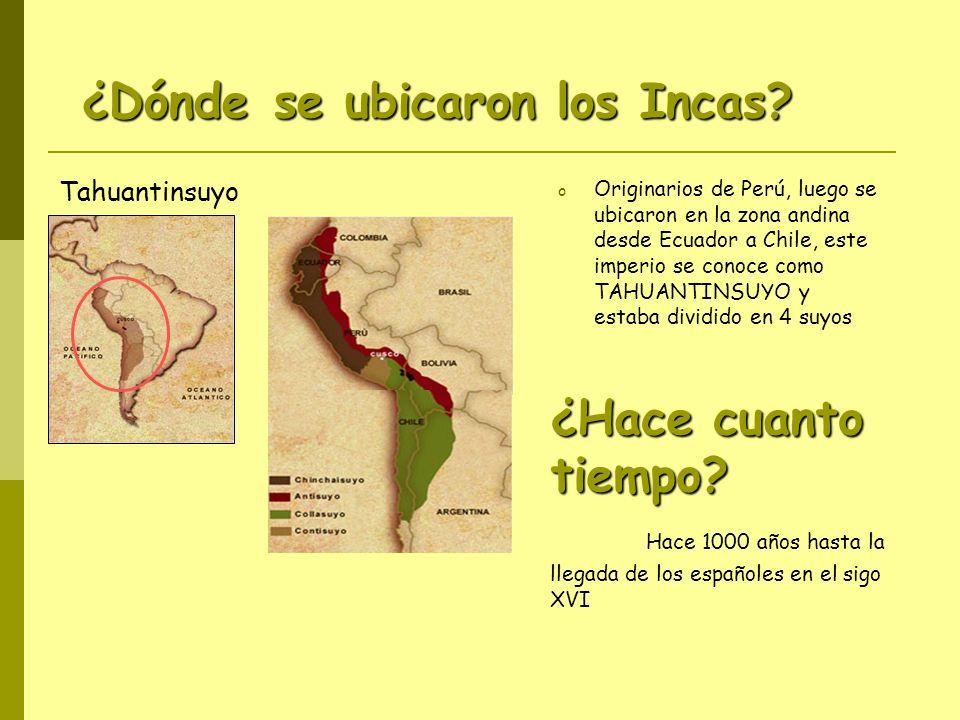 ¿Hace cuanto tiempo? ¿Hace cuanto tiempo? Hace 1000 años hasta la llegada de los españoles en el sigo XVI o Originarios de Perú, luego se ubicaron en
