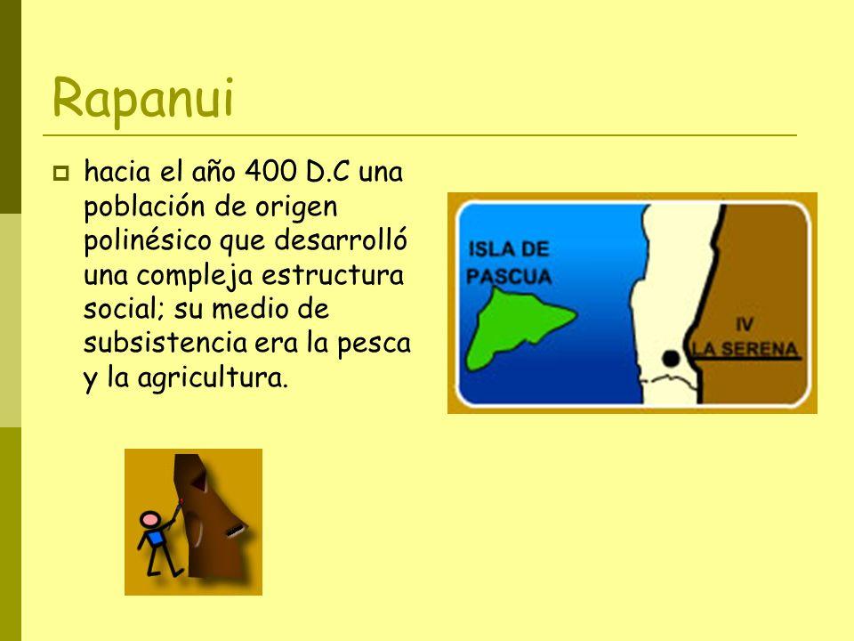 Rapanui hacia el año 400 D.C una población de origen polinésico que desarrolló una compleja estructura social; su medio de subsistencia era la pesca y