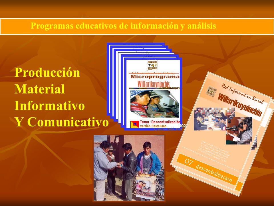 Producción Material Informativo Y Comunicativo Programas educativos de información y análisis Avisémonos... Willarikuyninchis Red Comunicadores Rurale
