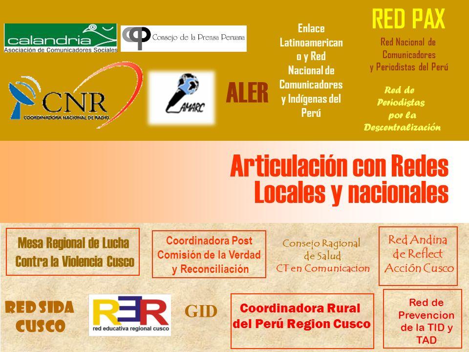 Articulación con Redes Locales y nacionales Mesa Regional de Lucha Contra la Violencia Cusco Red de Prevencion de la TID y TAD Coordinadora Rural del