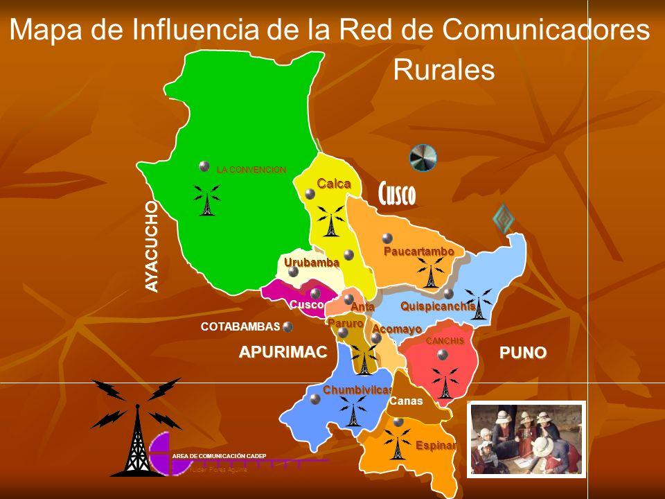 Mapa de Influencia de la Red de Comunicadores Rurales CANCHIS Espinar Chumbivilcas Acomayo Quispicanchis Paruro Paucartambo Anta Cusco Calca Urubamba