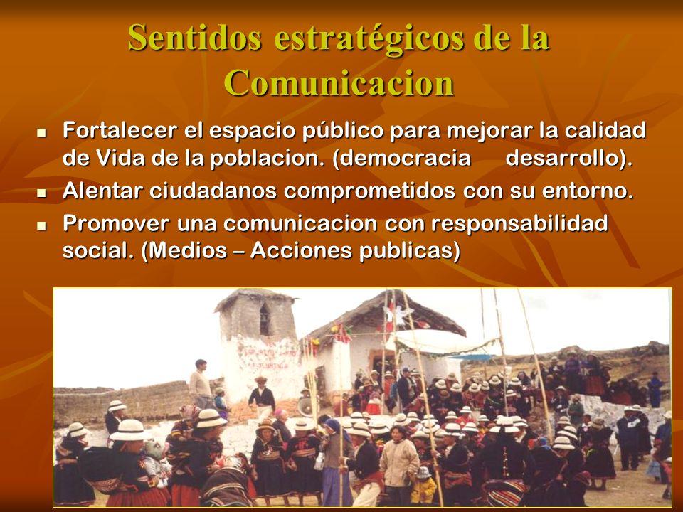 Sentidos estratégicos de la Comunicacion Fortalecer el espacio público para mejorar la calidad de Vida de la poblacion. (democracia desarrollo). Forta
