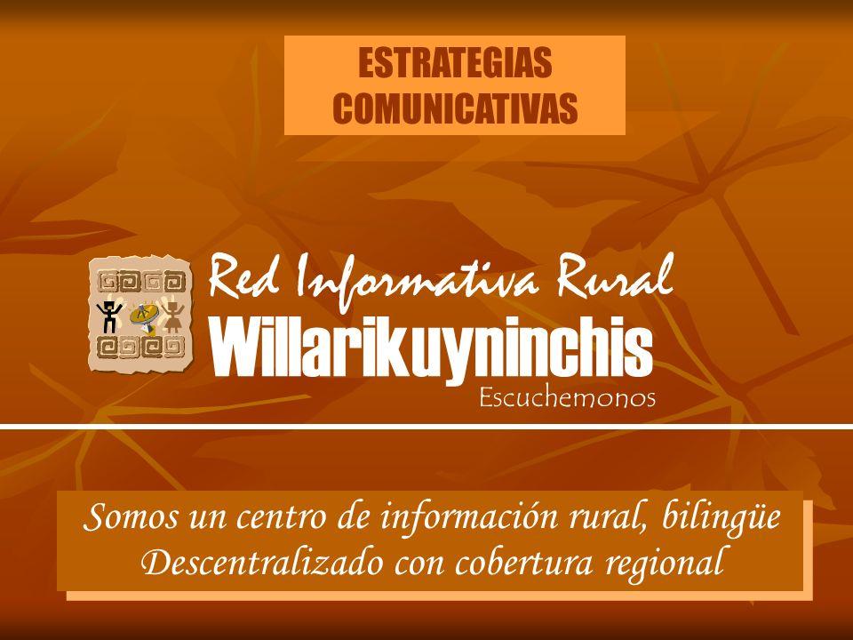 ESTRATEGIAS COMUNICATIVAS Red Informativa Rural Willarikuyninchis Escuchemonos Somos un centro de información rural, bilingüe Descentralizado con cobe