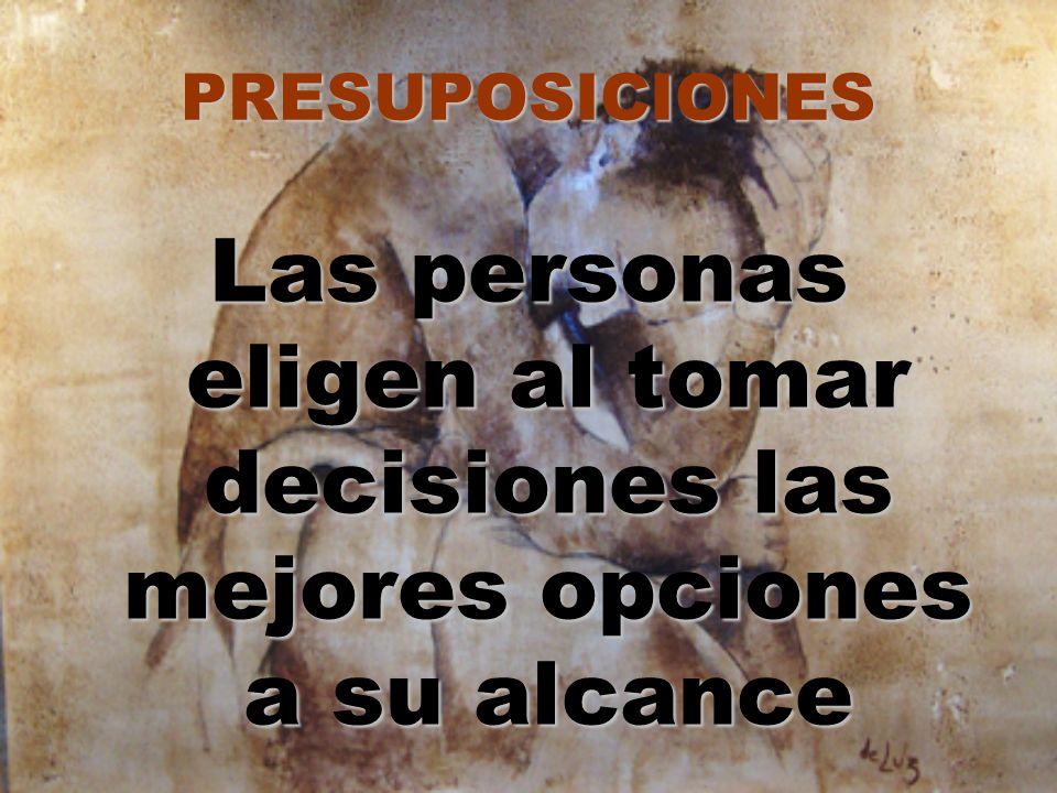 PRESUPOSICIONES Las personas eligen al tomar decisiones las mejores opciones a su alcance