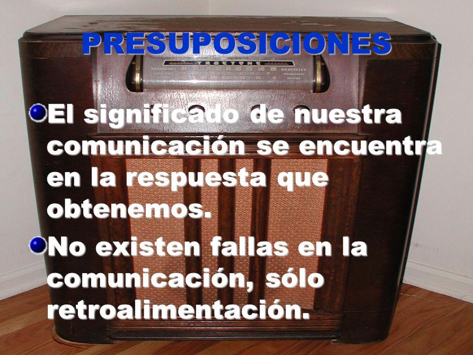 PRESUPOSICIONES El significado de nuestra comunicación se encuentra en la respuesta que obtenemos. No existen fallas en la comunicación, sólo retroali