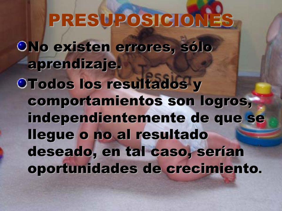PRESUPOSICIONES No existen errores, sólo aprendizaje. Todos los resultados y comportamientos son logros, independientemente de que se llegue o no al r
