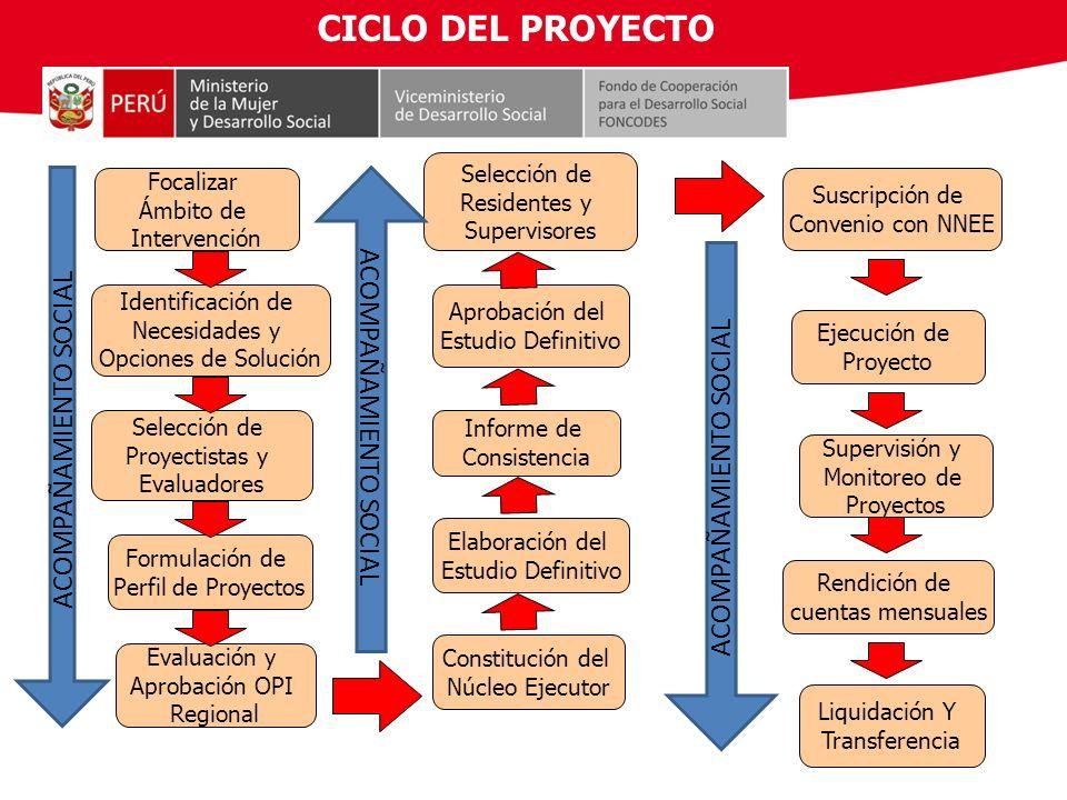 Selección de Proyectistas y Evaluadores Focalizar Ámbito de Intervención Identificación de Necesidades y Opciones de Solución Formulación de Perfil de