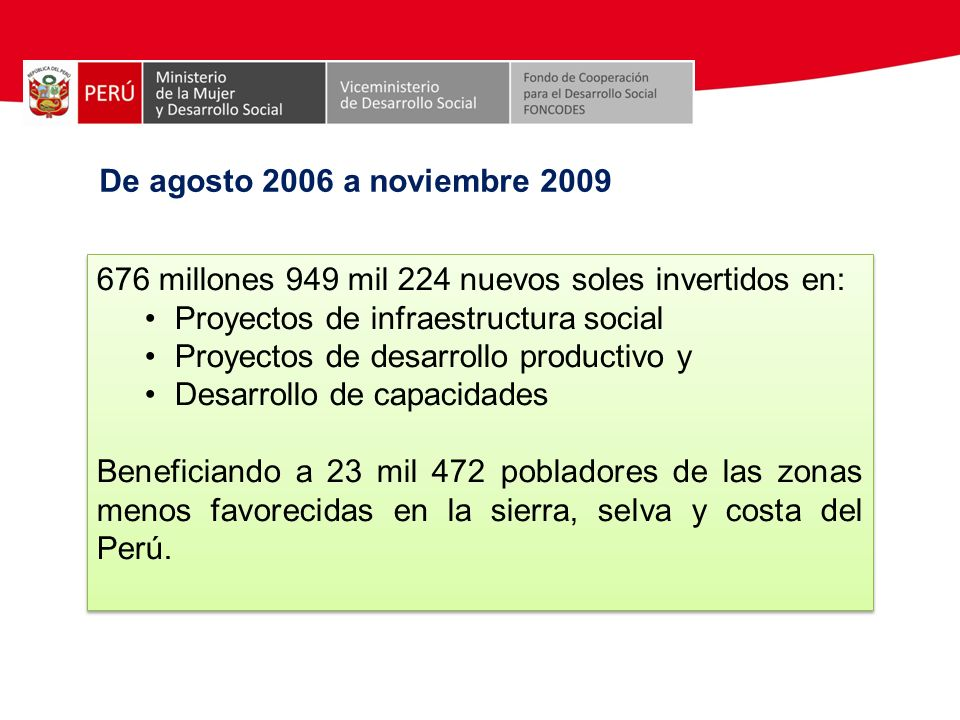 De agosto 2006 a noviembre 2009 676 millones 949 mil 224 nuevos soles invertidos en: Proyectos de infraestructura social Proyectos de desarrollo produ