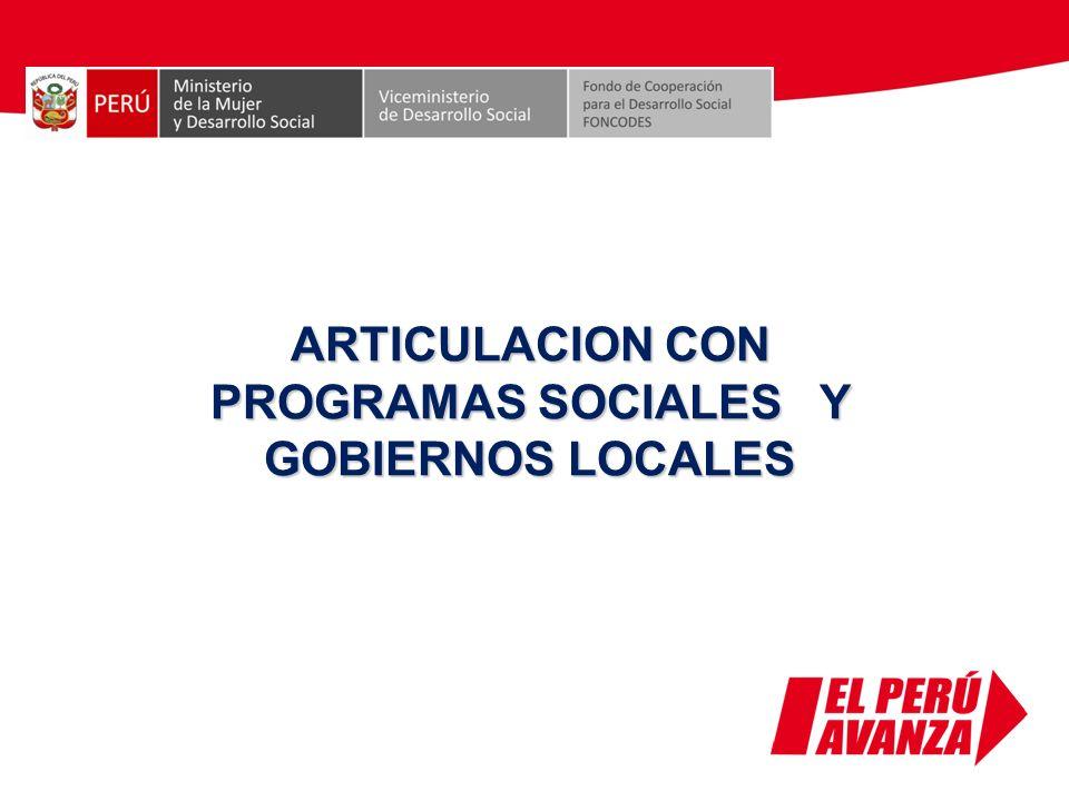 ARTICULACION CON PROGRAMAS SOCIALES Y GOBIERNOS LOCALES
