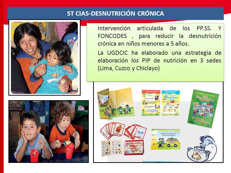 ST CIAS-DESNUTRICIÓN CRÓNICA Intervención articulada de los PP.SS. Y FONCODES, para reducir la desnutrición crónica en niños menores a 5 años. La UGDC
