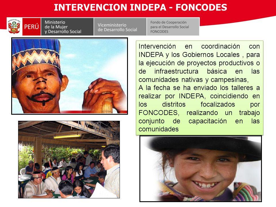 INTERVENCION INDEPA - FONCODES Intervención en coordinación con INDEPA y los Gobiernos Locales, para la ejecución de proyectos productivos o de infrae