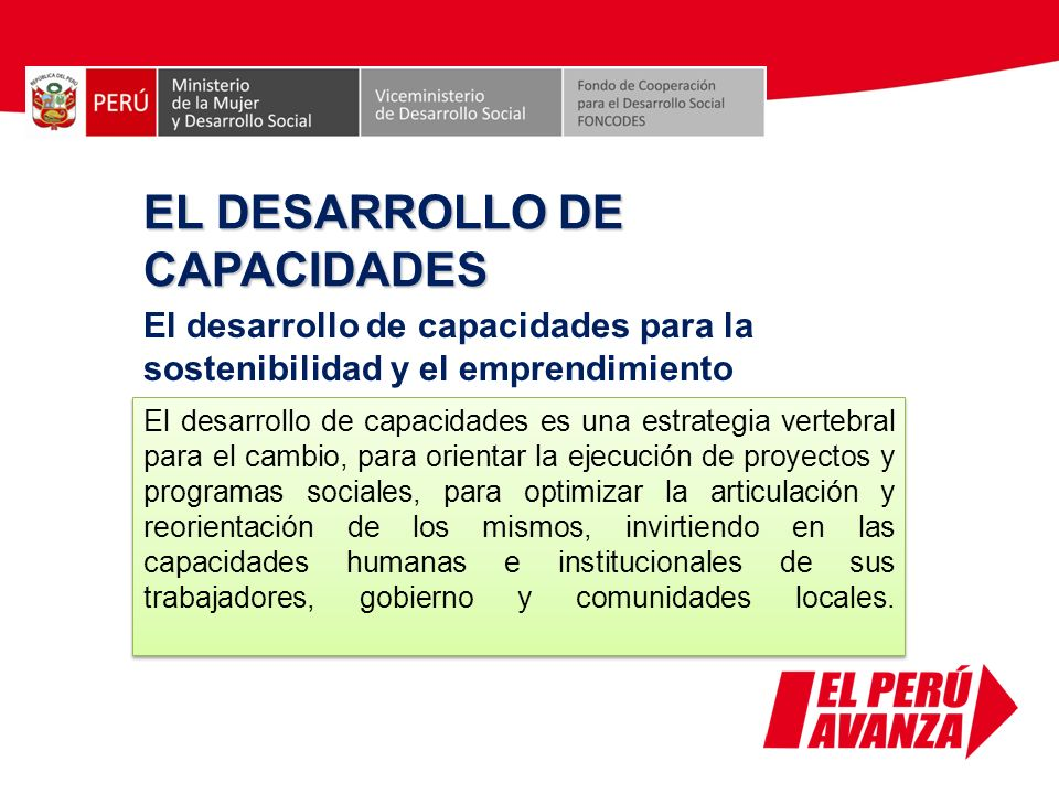 EL DESARROLLO DE CAPACIDADES El desarrollo de capacidades para la sostenibilidad y el emprendimiento El desarrollo de capacidades es una estrategia ve