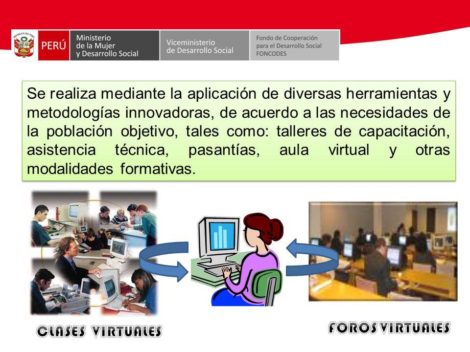 Se realiza mediante la aplicación de diversas herramientas y metodologías innovadoras, de acuerdo a las necesidades de la población objetivo, tales co